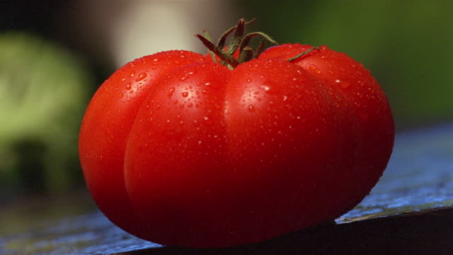 Close up tomato being cut in half