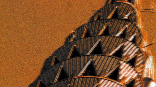 stockvideo's en b-roll-footage met grainy cross process pan close up top of chrysler building in new york city - cross processen