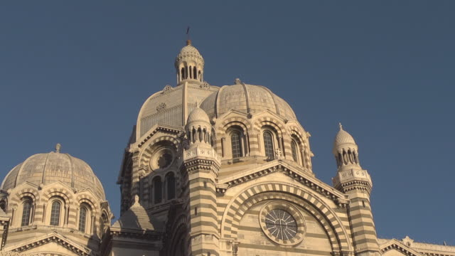 Close up towers of Marseille Cathedral - Cathédrale Sainte-Marie-Majeure de Marseille  / Cathedrale de la Major