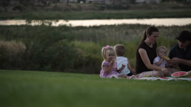 vidéos et rushes de a close up tracking shot of a young family of six having a picnic by a lake on a cloudy sunset. - famille avec quatre enfants