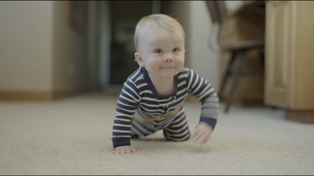 close up tracking shot of approaching baby boy crawling on floor / cedar hills, utah, united states - baby boys stock videos & royalty-free footage