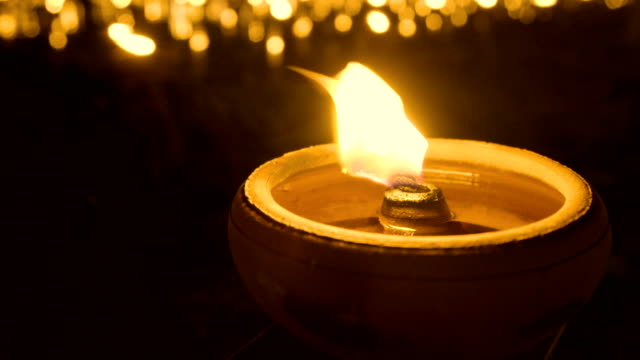 4k close up traditional oil lamps, thailand. - bowl stock videos and b-roll footage