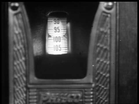 b/w 1929 close up tuning dial of radio turning / industrial - 1920 1929 stock videos & royalty-free footage