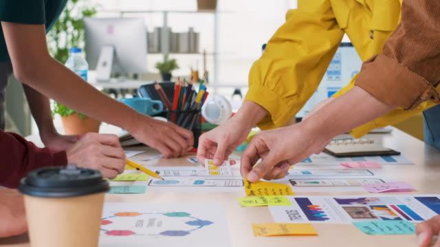 vídeos de stock, filmes e b-roll de feche o desenvolvedor ux e o designer de ui brainstorming sobre o design de wireframe de interface de aplicativo móvel em código de cores de mesa no escritório moderno. agência criativa de desenvolvimento digital.panning out - aplicação móvel