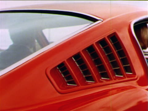 1965 close up vents in side of roof of ford mustang / animated air currents coming from vents - ford mustang stock videos and b-roll footage