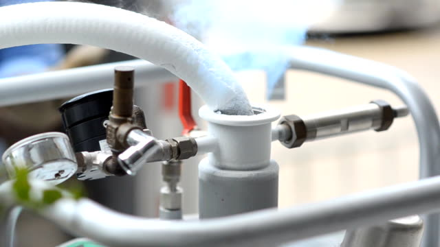 close up : vibrate liquid nitrogen tank - machine valve stock videos and b-roll footage