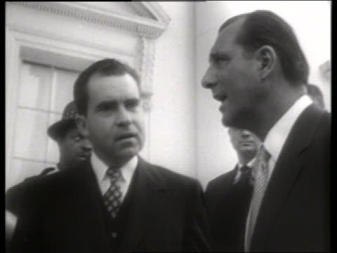 B/W close up Vice President Richard Nixon with man / 1950's / SOUND