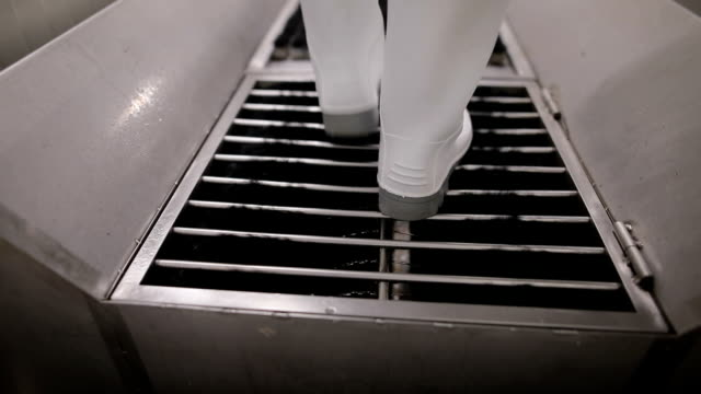 close up view of a worker in sterile cloths washing boots before working. hygiene at food factory - dairy factory stock videos & royalty-free footage