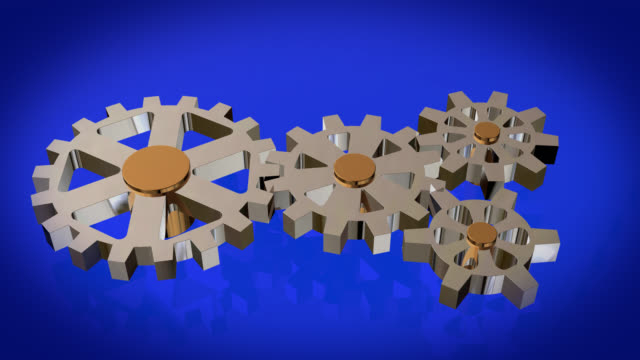 Close up view of animated rotating chrome gears