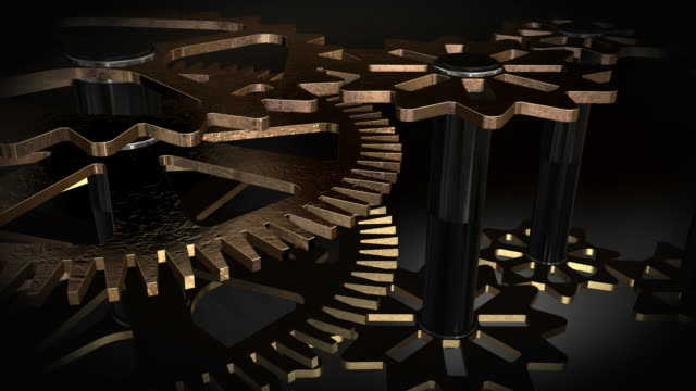 close up view of animated rotating gold gears - five objects stock videos & royalty-free footage
