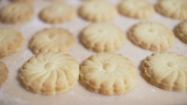 close up view of home made shortbread - snack stock videos & royalty-free footage