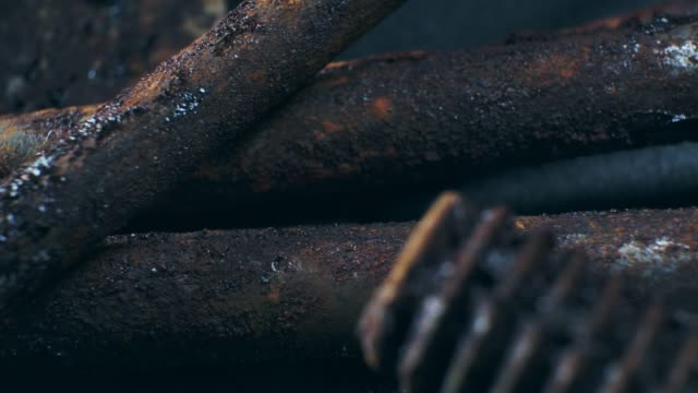 close up view of rusty work tool on black background. - rusty stock videos & royalty-free footage