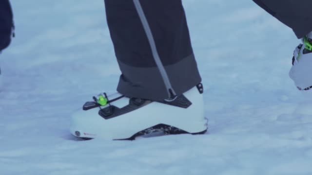Close up view of ski boots