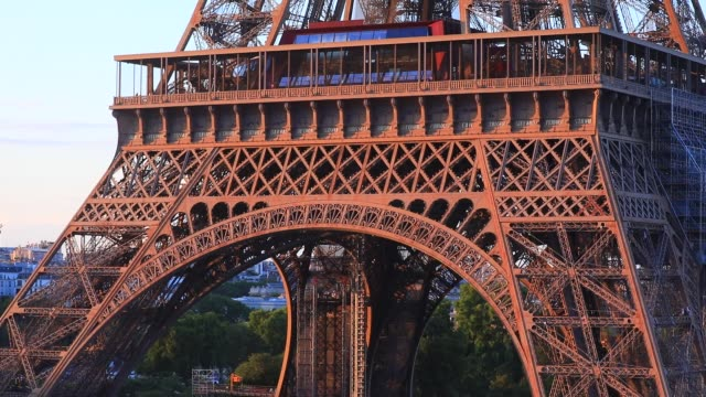 """close up view of the eiffel tower from the """"frame rooftop"""", an ephemeral restaurant and bar that offers a unique view of the whole of paris on august... - eiffel tower paris stock videos & royalty-free footage"""