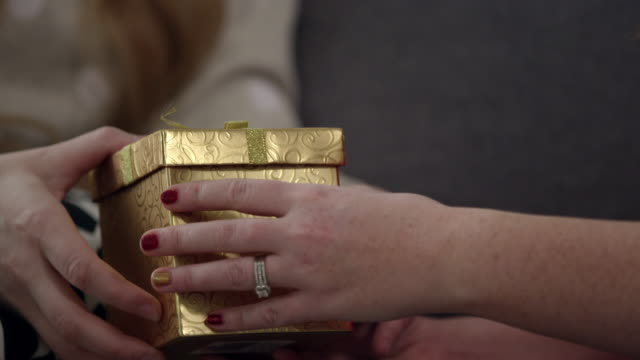 Close up view of woman handing gift box to another person
