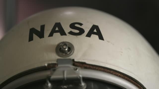 close up, vintage nasa helmet - space helmet stock videos & royalty-free footage