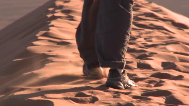 close up walking on sand, sossusvlei, namib-naukluft, namibia - human foot stock videos and b-roll footage