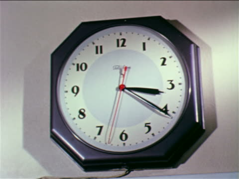 1962 close up wall clock with second hand moving / educational - clock stock videos & royalty-free footage