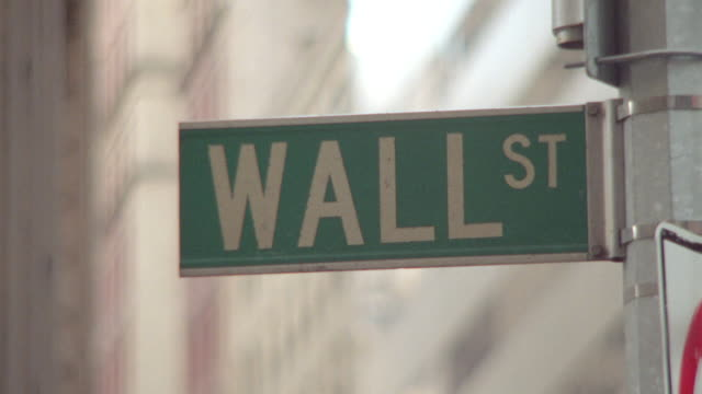 close up Wall Street sign