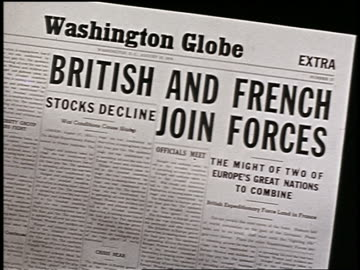 vídeos de stock, filmes e b-roll de close up washington globe newspaper headline: british and french join forces / start of wwi - um único objeto