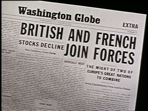 close up washington globe newspaper headline: british and french join forces / start of wwi - 1914 stock videos & royalty-free footage