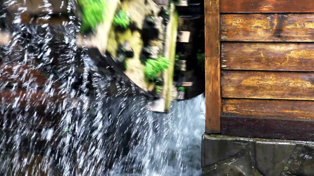 cu close up water wheel / watermill - watermill stock videos and b-roll footage