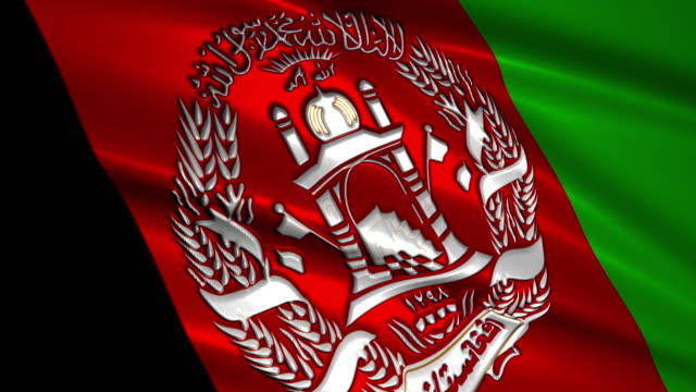 close up waving flag of Afghanistan,loopable
