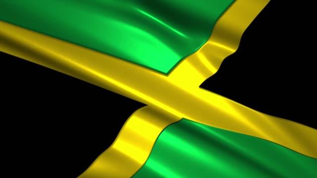 close up waving flag of Jamaica,loopable