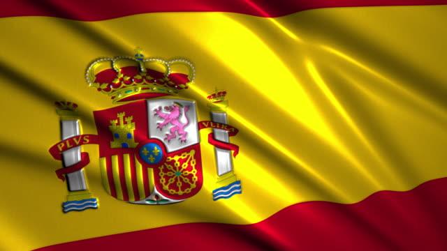 close up waving flag of Spain,loopable