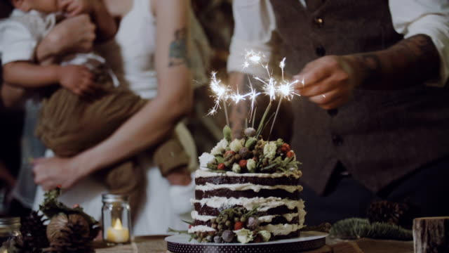 Close up : Wedding Cake With Sparklers In Party