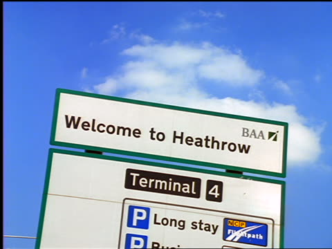 "close up ""welcome to heathrow"" sign / london, england - heathrow airport stock videos and b-roll footage"