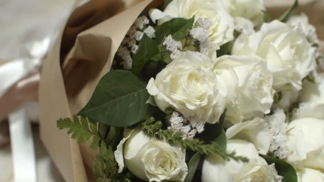 close up white rose bouquet.love concept - funeral stock videos & royalty-free footage