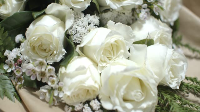 close up white rose bouquet.love concept - bouquet video stock e b–roll