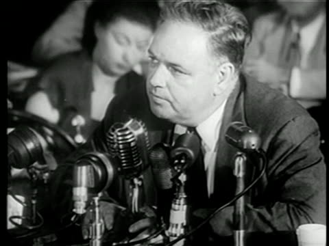 vídeos y material grabado en eventos de stock de close up whittaker chambers testifying at house committee on un-american activities trials - only mature men