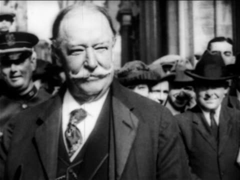 b/w 1908 close up william howard taft smiling at camera outdoors / educational - only mature men stock videos & royalty-free footage