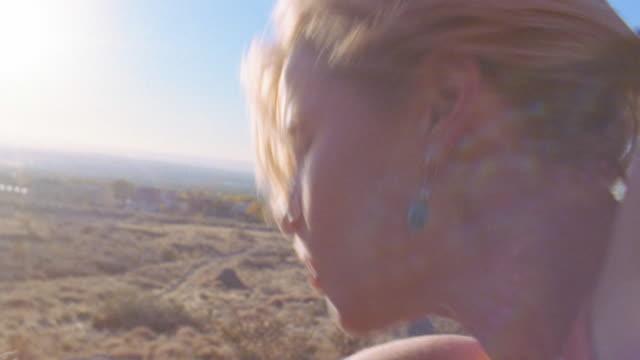 vidéos et rushes de close up woman climbing rock / new mexico - effort