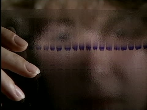 close up woman looking at genetic card (caryotype) (biochemistry) / a person's genetic identity - scienziata video stock e b–roll