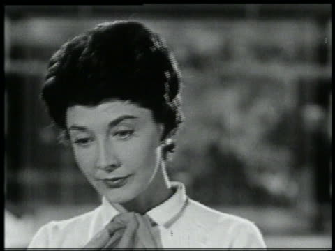 b/w 1959 close up woman looking down - 1959 stock videos & royalty-free footage