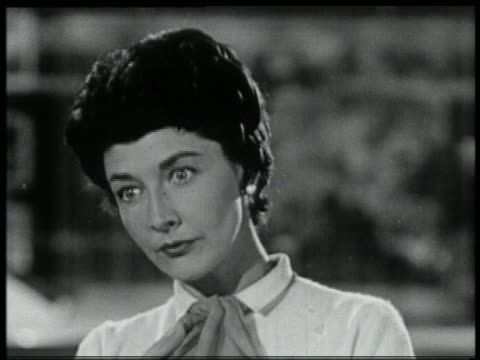 b/w 1959 close up woman looking shocked - 1950 1959 stock videos & royalty-free footage