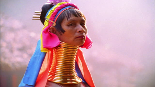 Close up woman of Long-necked Karen Tribe (Padaung) with neck rings / Thailand