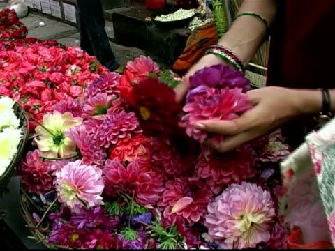 vidéos et rushes de close up woman selecting flowers at flower stand / making bouquet of blossoms - composition florale