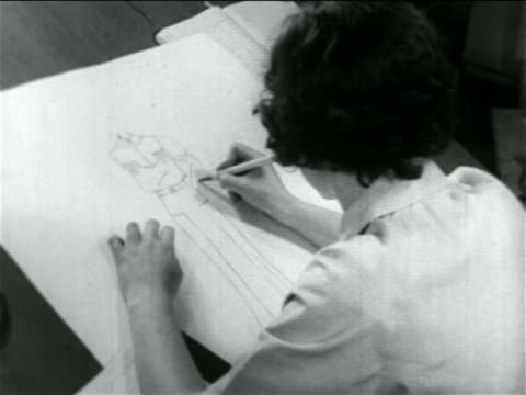 close up women designer sketching outfit in wpa garment factory / documentary - 1934 stock videos & royalty-free footage