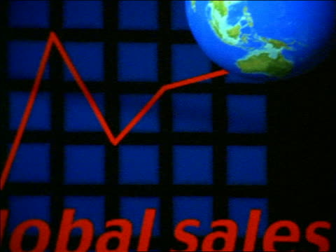 close up PAN words 'Global Sales' next to graph line leading to globe on computer screen
