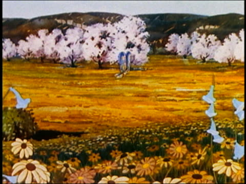 1936 animation close up yellow flowers swaying / butterfy in field to close up of bird on cherry blossom / audio - perfection stock videos & royalty-free footage