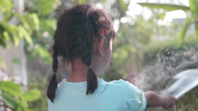 close up young girl hand watering with tree in garden home. - squirting girl stock videos and b-roll footage