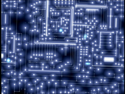 CGI close up zoom in lights moving along circuits on circuit board