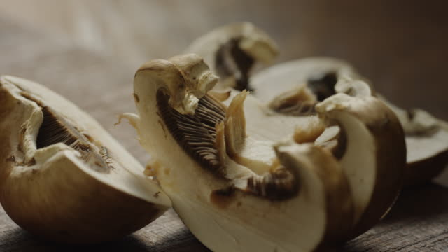 close up zoom in of sliced mushrooms / cedar hills, utah, united states - cut video transition stock videos & royalty-free footage