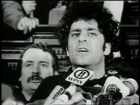1970 close up zoom out Abbie Hoffman speaking at free Bobby Seale rally / New Haven Connecticut / AUDIO