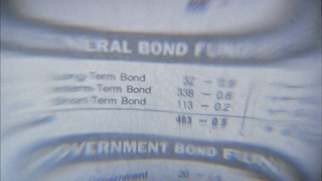 stockvideo's en b-roll-footage met close up zoom out financial pages under magnifying glass paperweight - financiële pagina