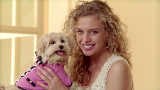 close up zoom out portrait girl holding maltese-toy poodle mix dressed in outfit - petite teen girl stock videos and b-roll footage